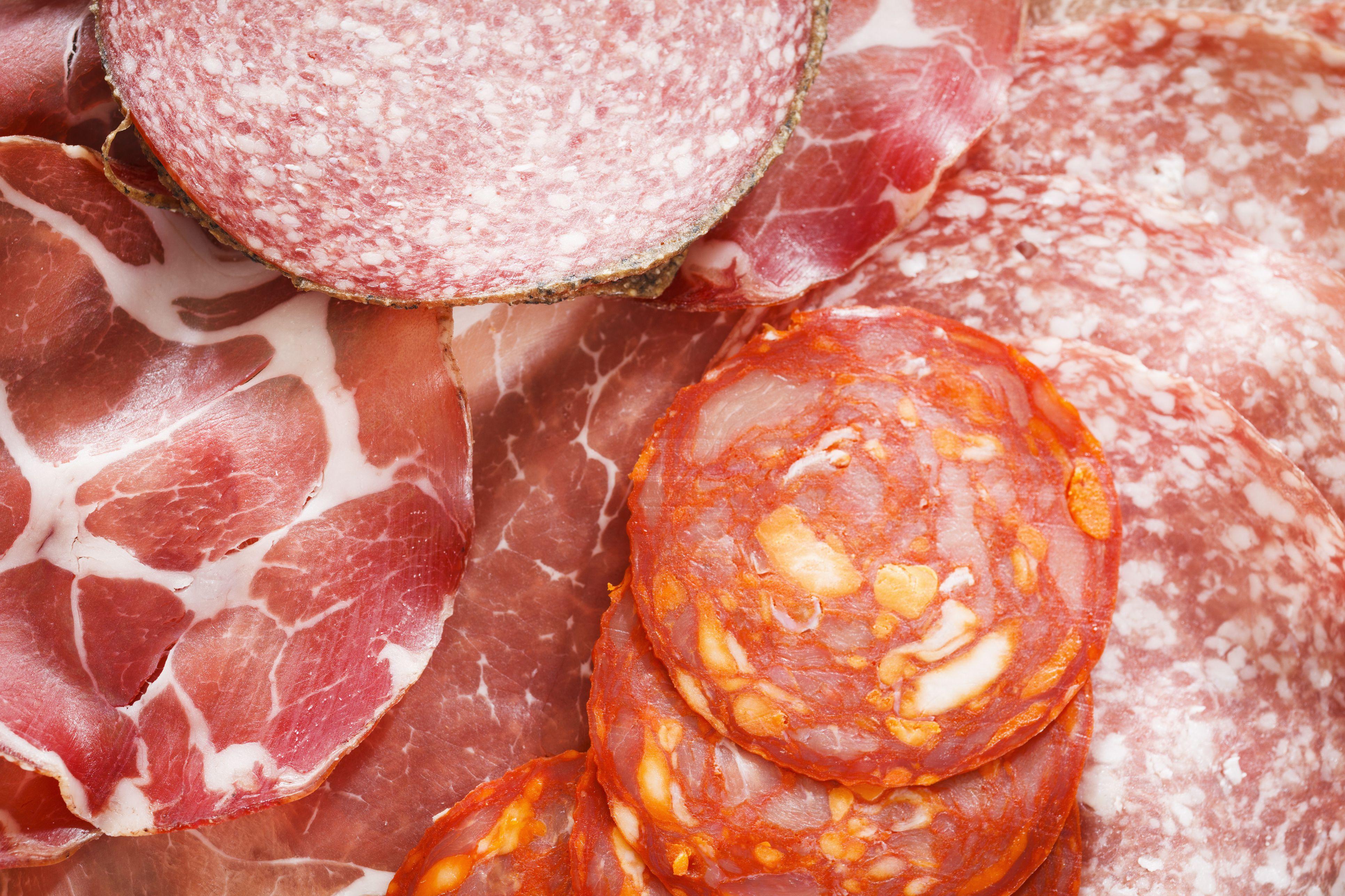 Selection of fresh sliced meat salami