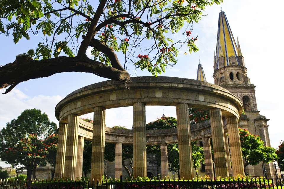 Beautiful view of stone Jalisciences and Guadalajara Cathedral