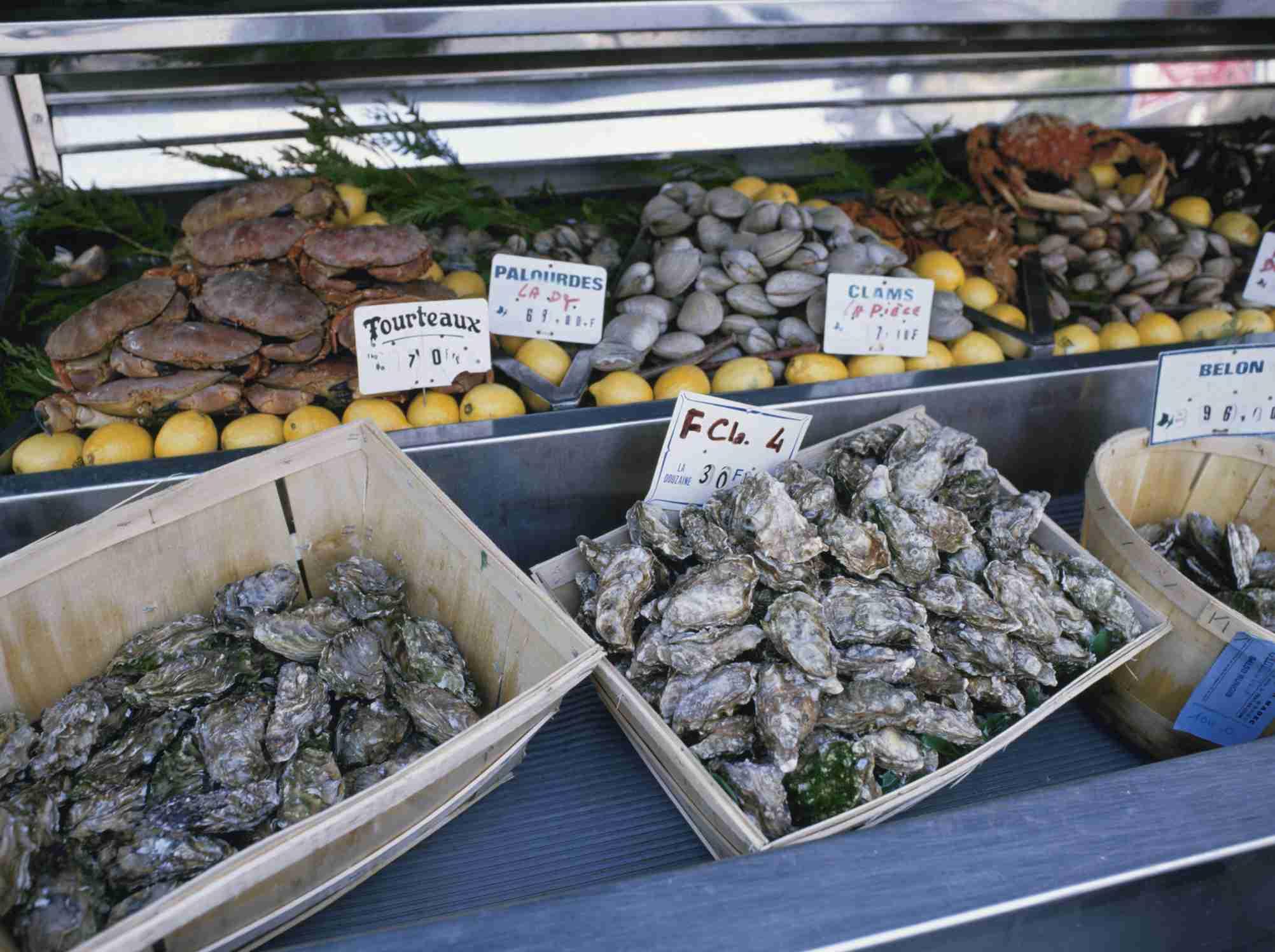 Shellfish market, Montparnasse, Paris, France