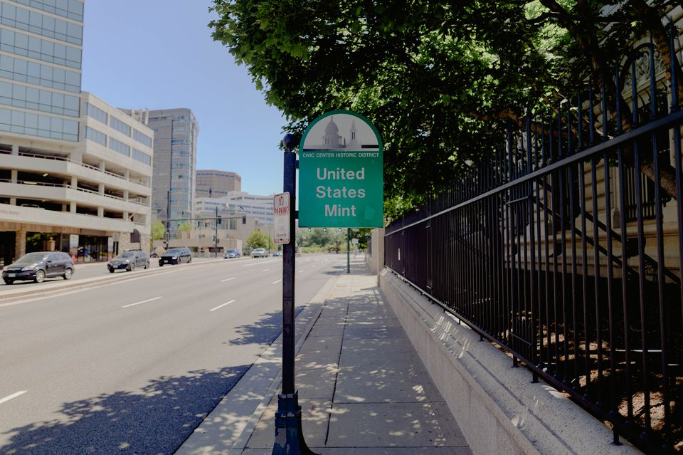 Sign for the United States Mint in Denver, Colorado
