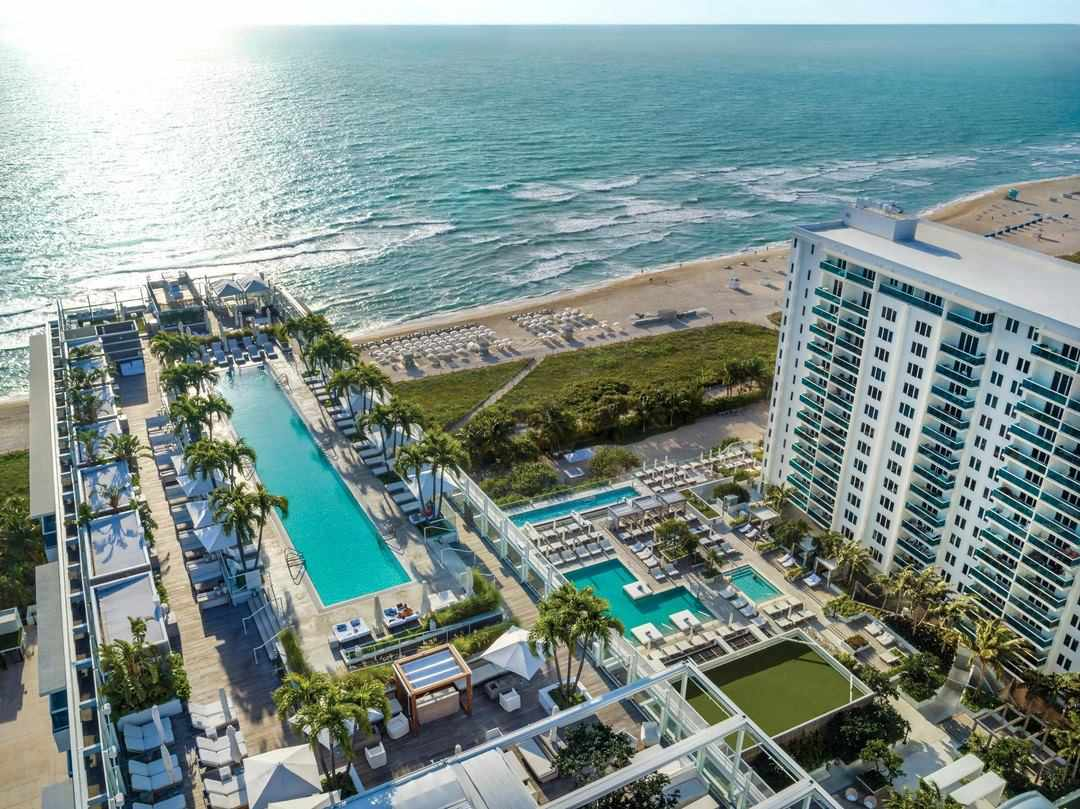 Aerial view of the pool and beach at 1 Hotel South Beach