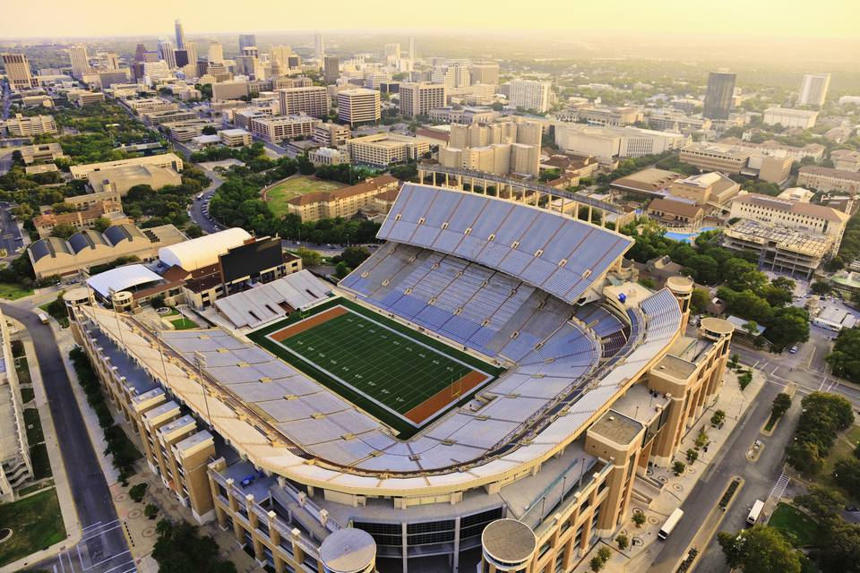 Aerial view from a helicopter of UT Football Stadium