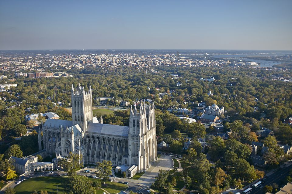 Aerial photograph of National Cathedral