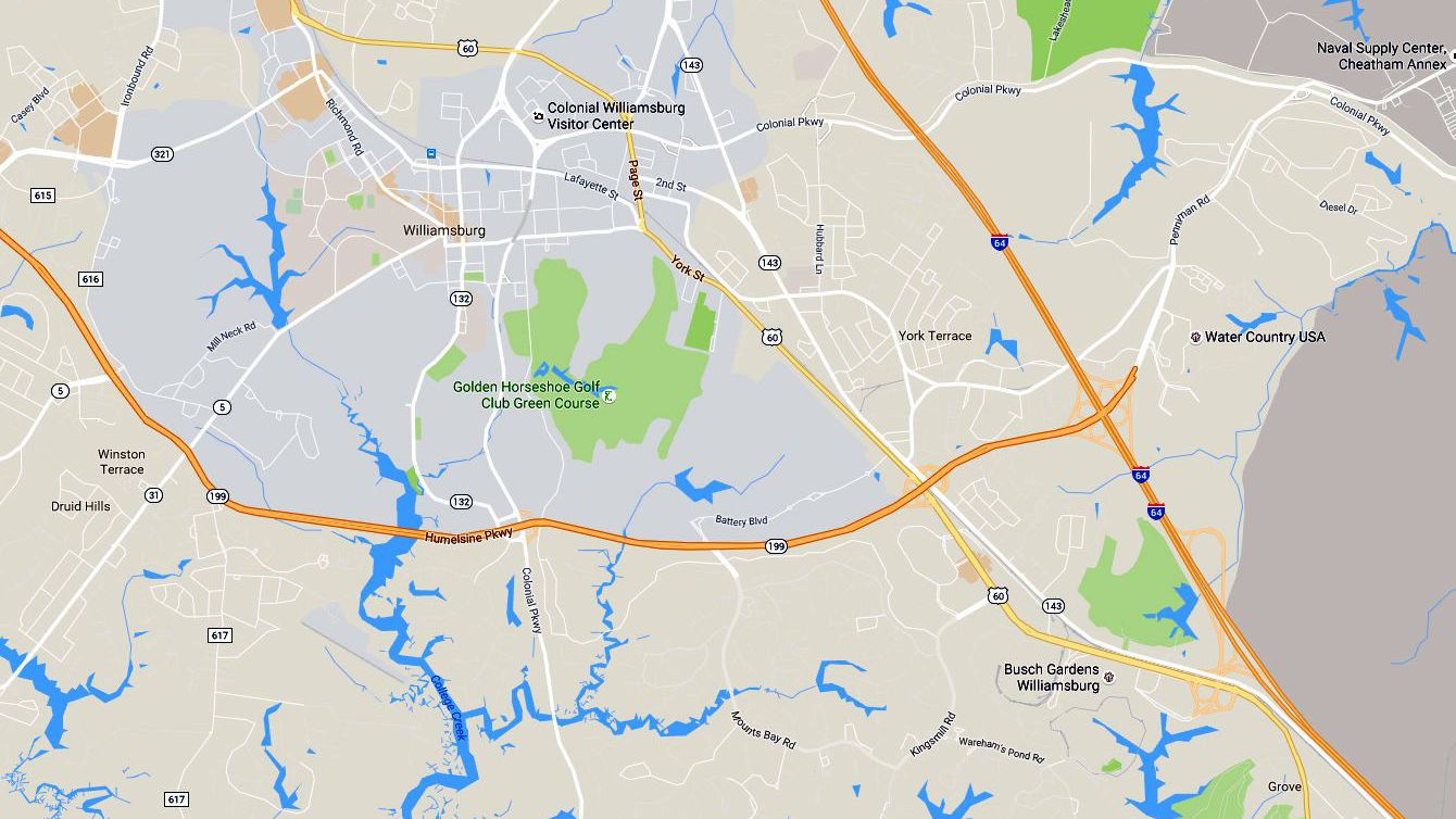 Map of the Historic Triangle in Virginia