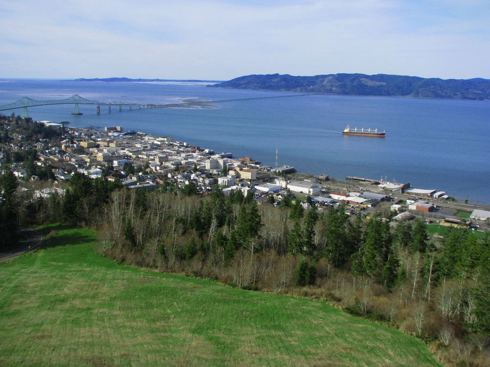View of downtown Astoria and the Columbia River, from the observation deck atop the Astoria Column on Coxcomb Hill