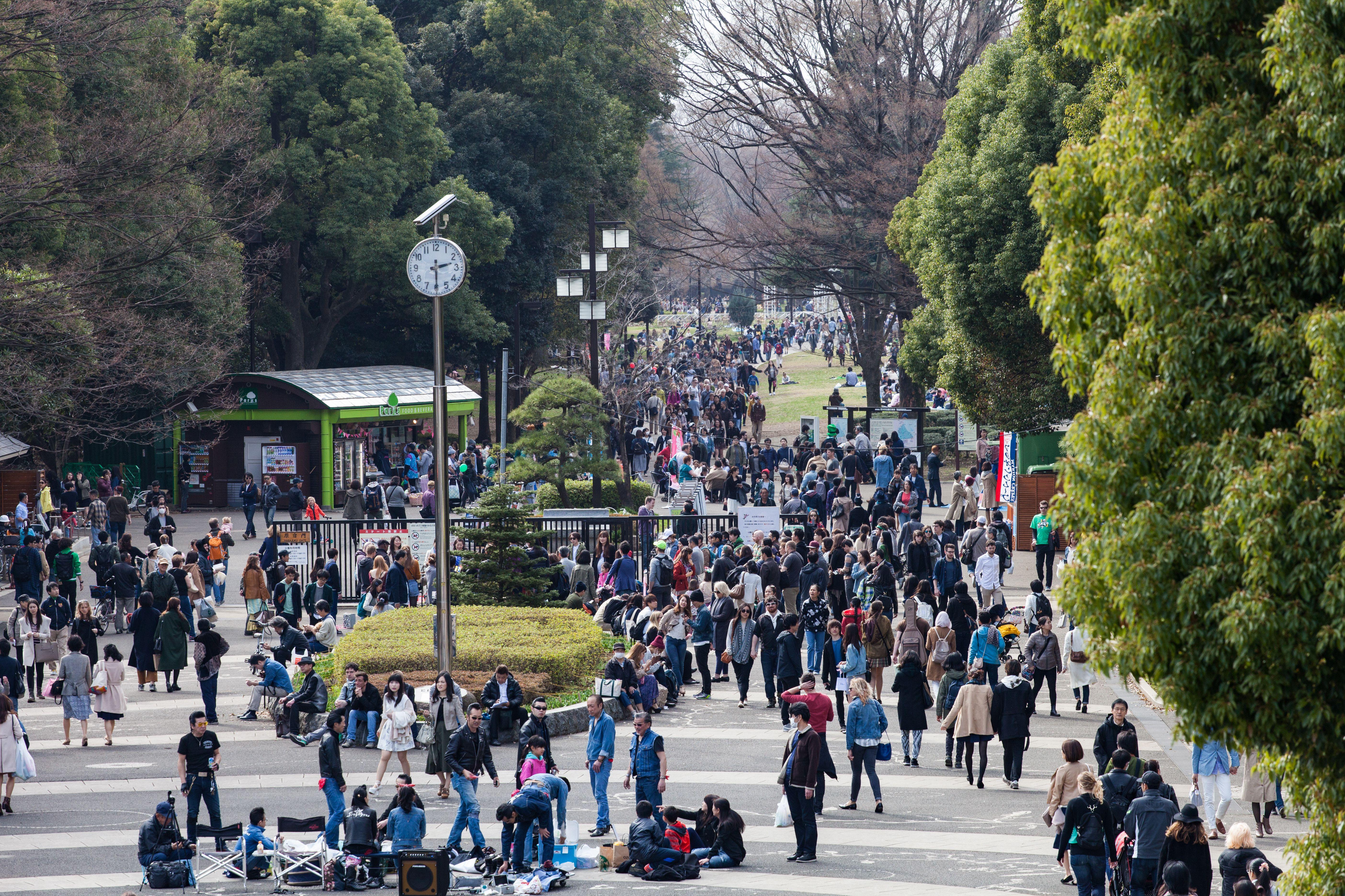 Busy Tokyo park during Golden Week in Japan