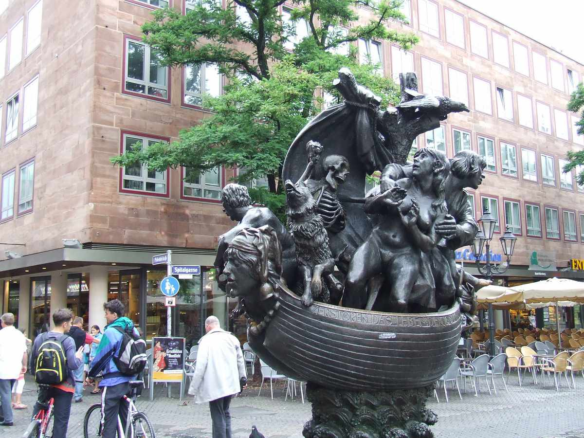 Ship of Fools statue in Old Town Nuremberg