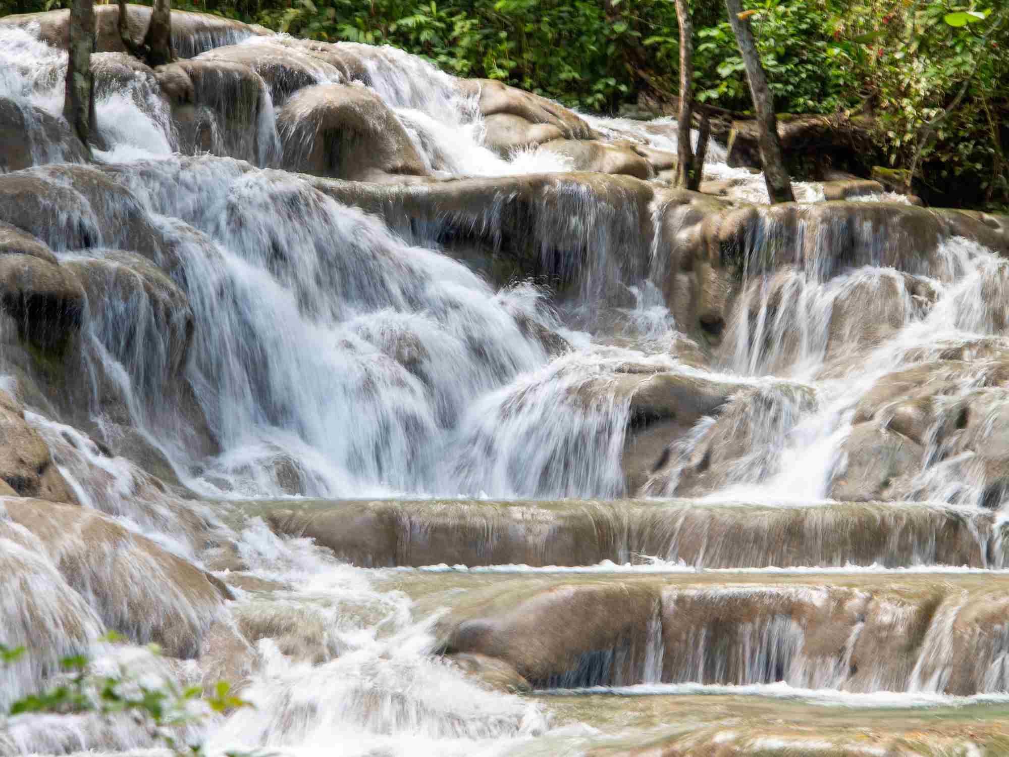 Waterfalls at Dunn's River in Ocho Rios, Jamaica