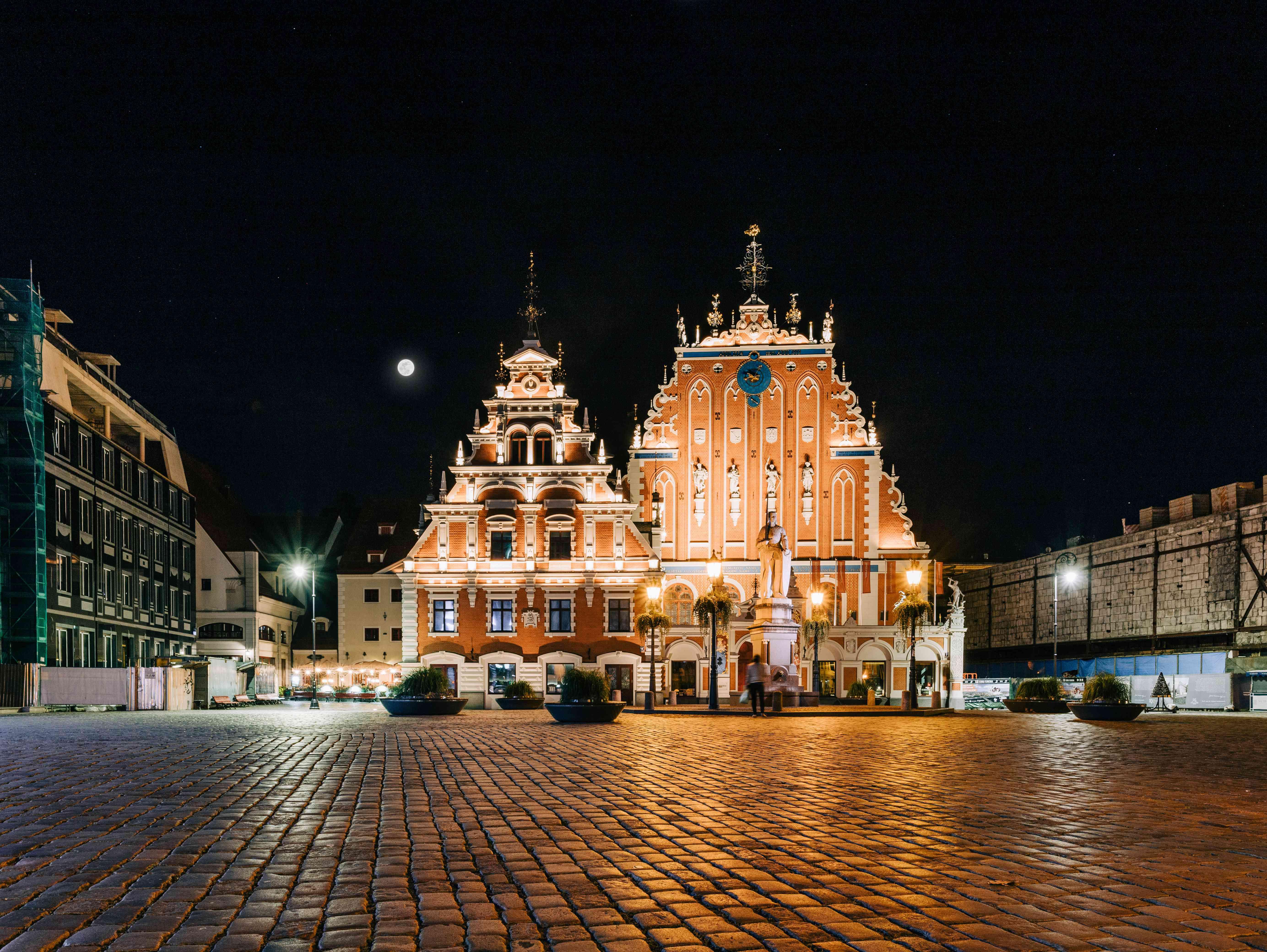 Riga Latvia at night