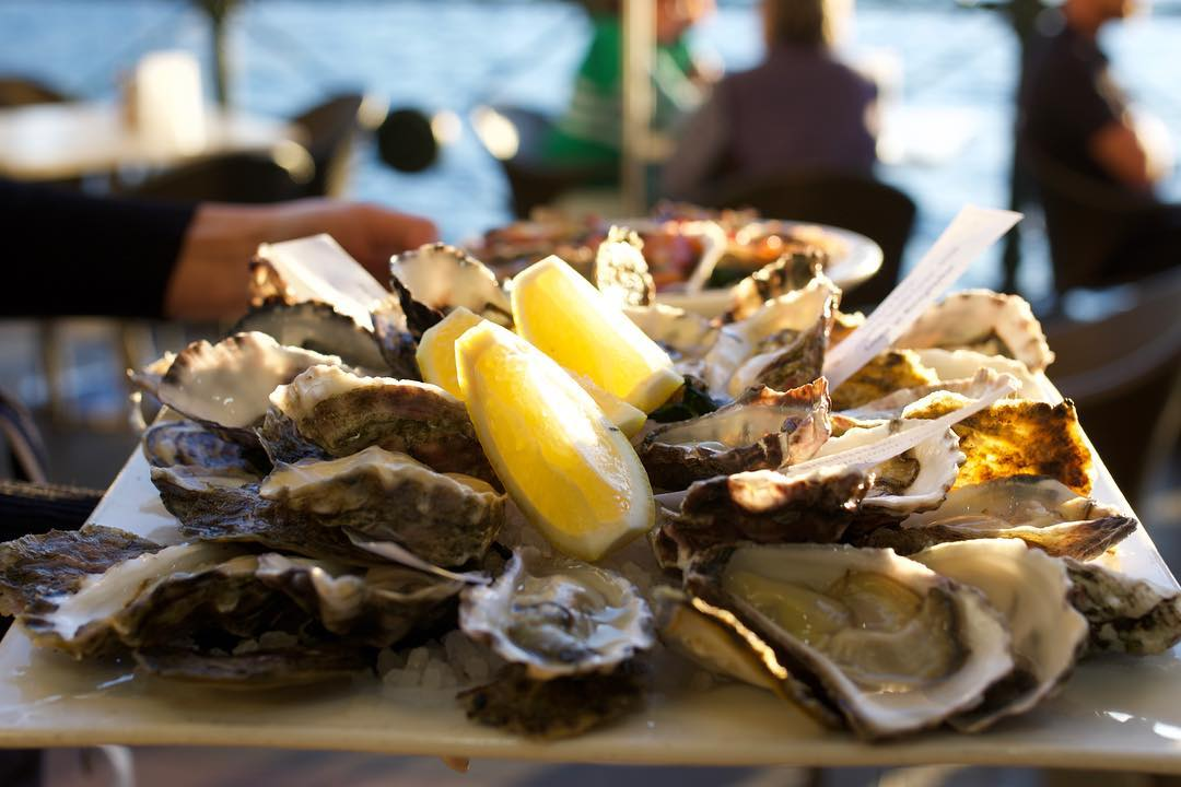 Plate of fresh oysters with lemon
