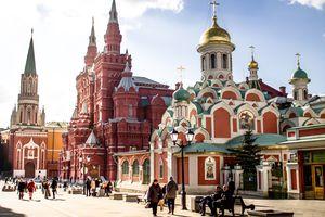 People walking past Kazan Cathedral