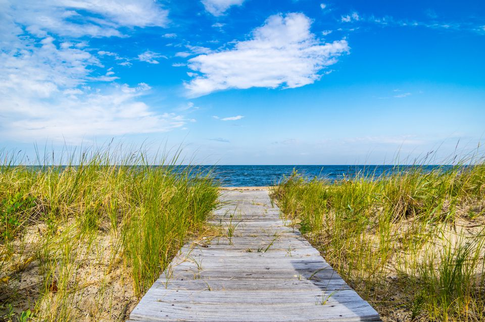 Wooden footpath on beach, Long Island, New York, New York State, USA