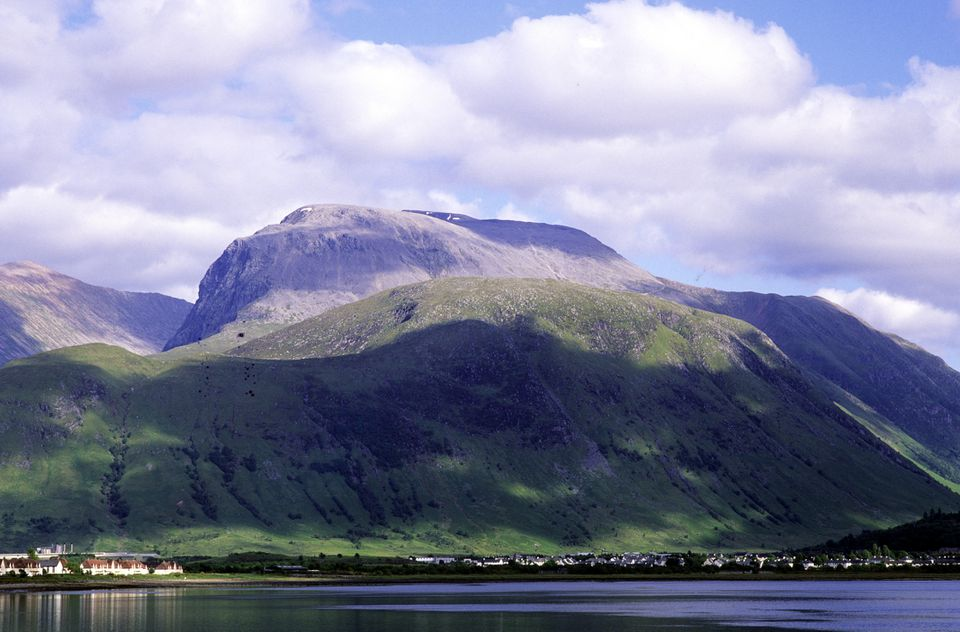 Ben Nevis and Fort William from the shores of Loch Linnhe.