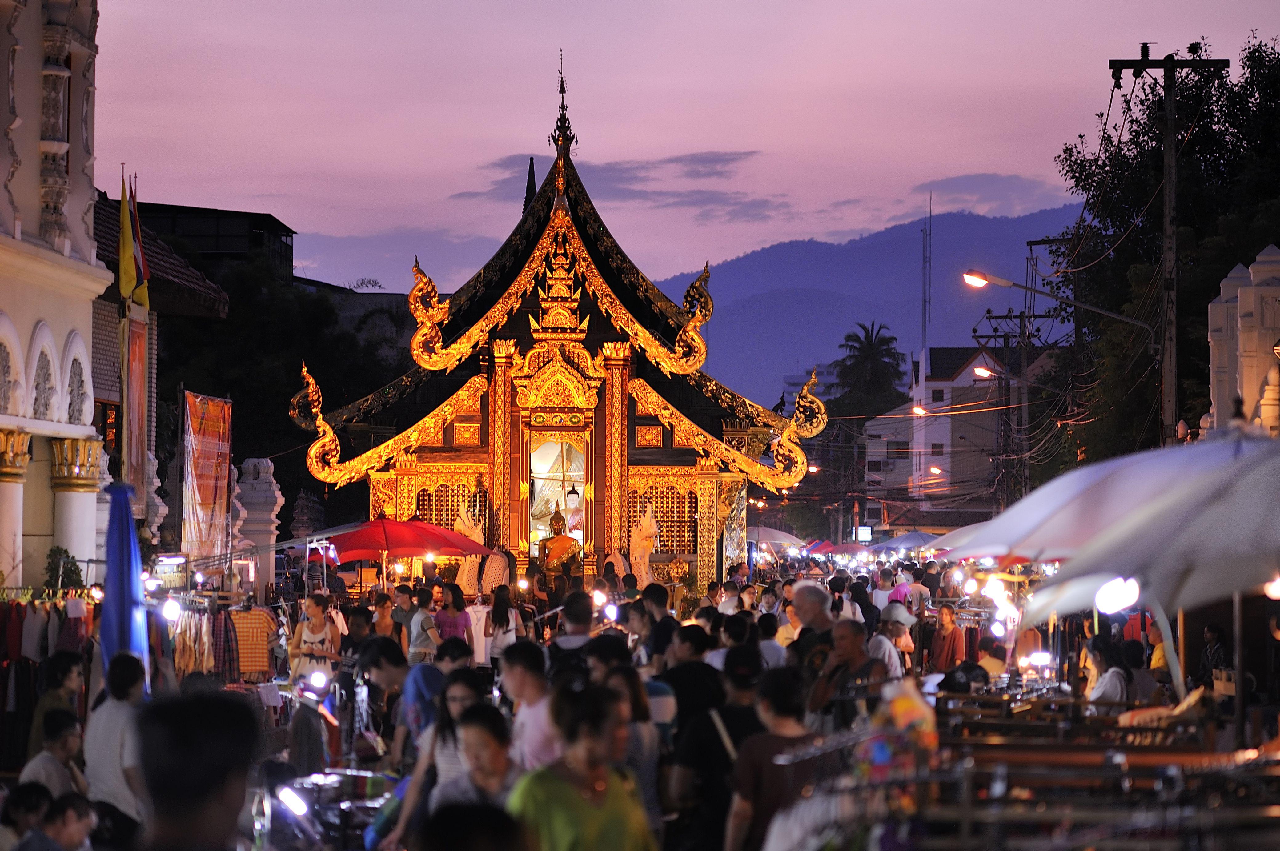 Sunday market walking street in Chiang Mai, Thailand