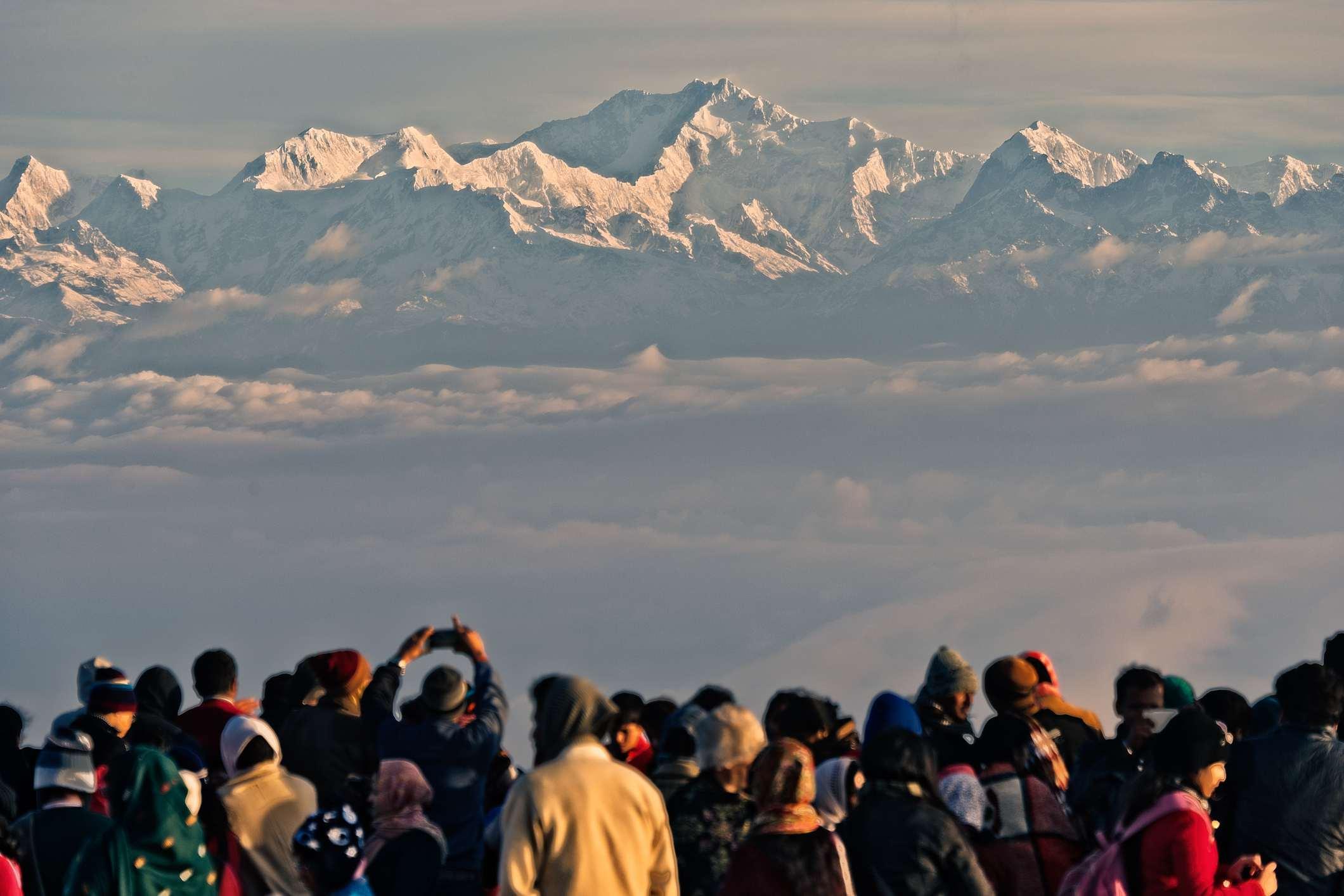 Watching sunrise over Mount Kanchenjunga.