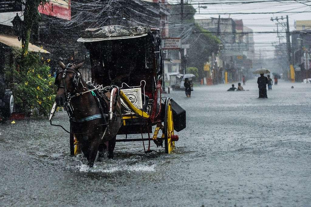 Horse-drawn calesa in Manila during floods
