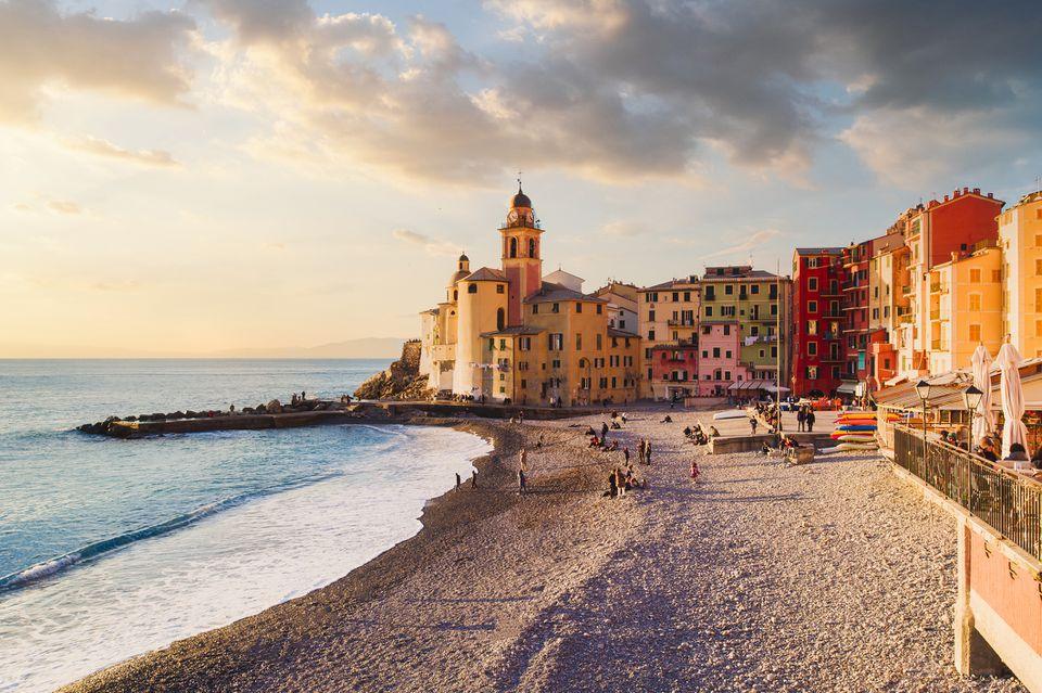Seascape at sunset, Camogli, Liguria coast, Italy
