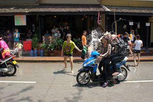 Locals splashing locals for Bun Pi Mai in Luang Prabang