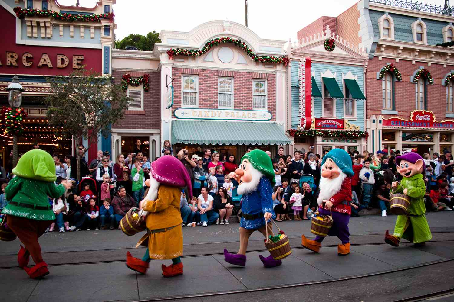 """Disneyland's """"A Christmas Fantasy Parade"""" as seen from Main St. on December 20, 2009."""