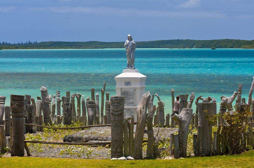 Statue of St. Maurice, St. Maurice Bay, near Vao, Ile des Pins (Isle of Pines), New Caledonia