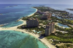 View of pink buildings, apart of the Atlantis Resort Paradise Island Nassau Bahamas