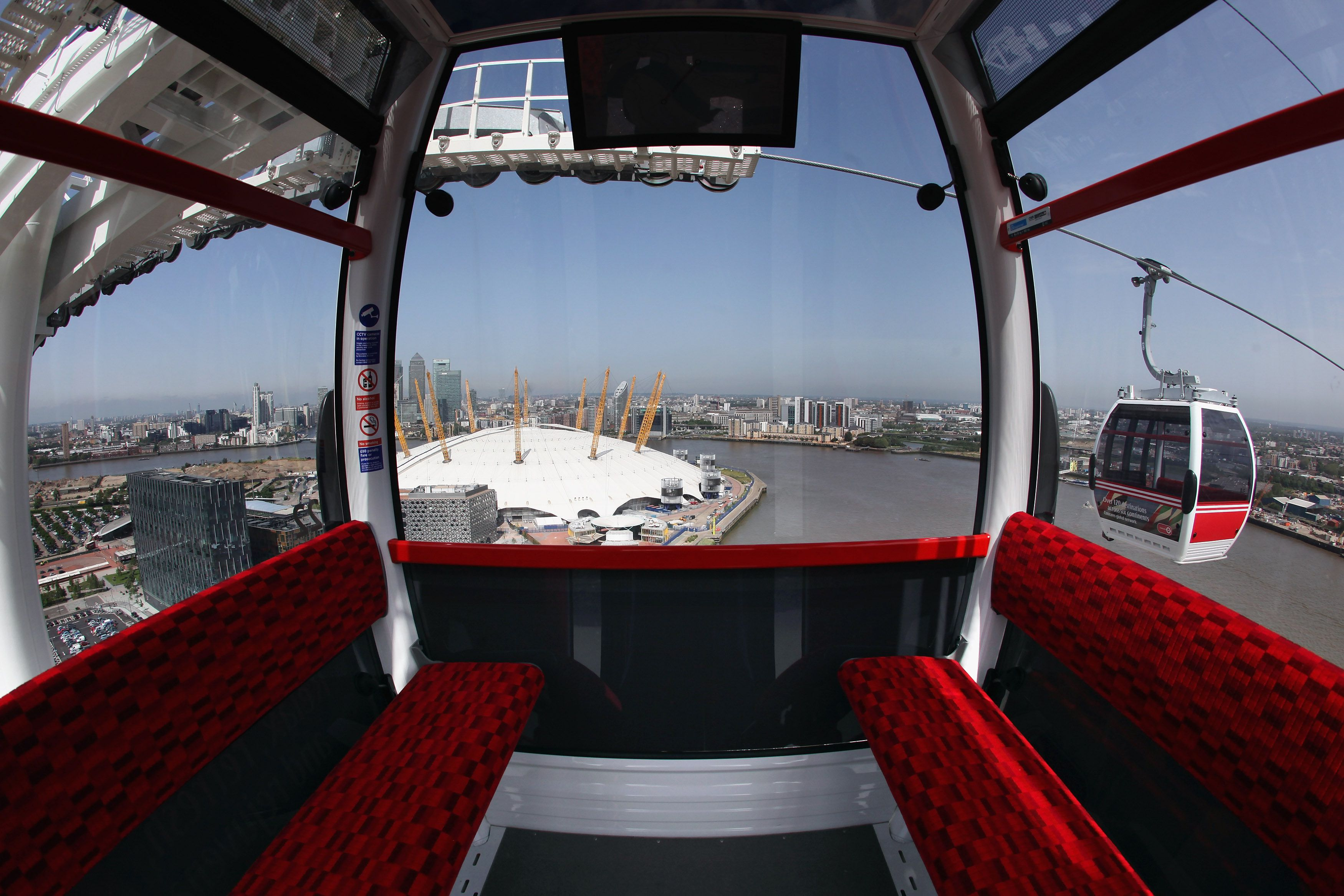 The Emirates Air Line cable car, which operates between the O2 Arena in Greenwich and the ExCeL exhibition centre, at the Royal Docks in London, England.