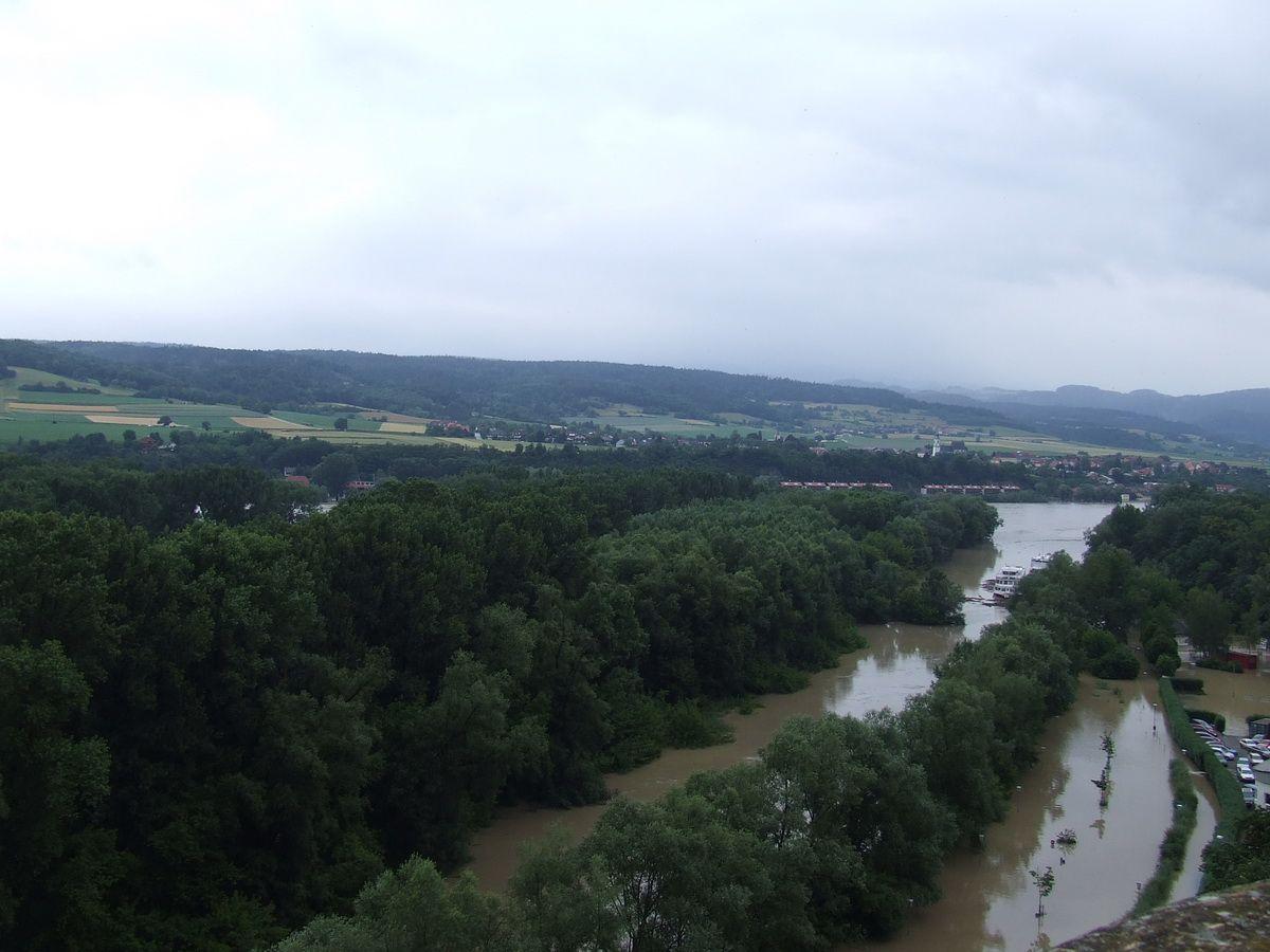 Flooded Danube River at Melk, Austria