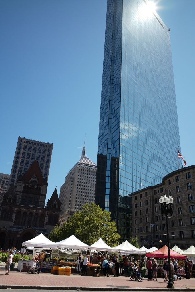 Farmer's Market and the John Hancock Tower in Copley Square