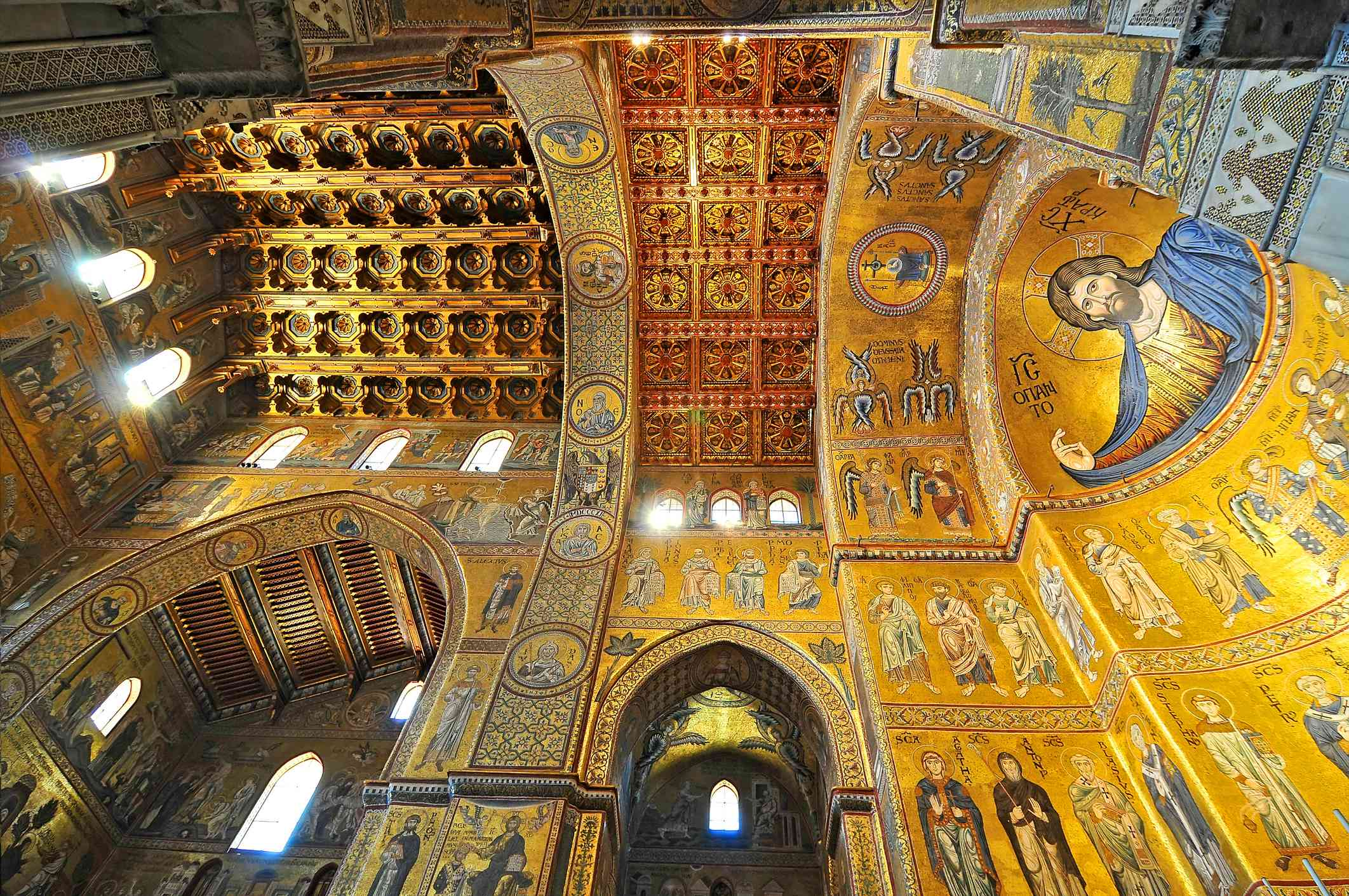 Interior of the famous Cathedral Santa Maria Nuova of Monreale near Palermo in Sicily Italy.