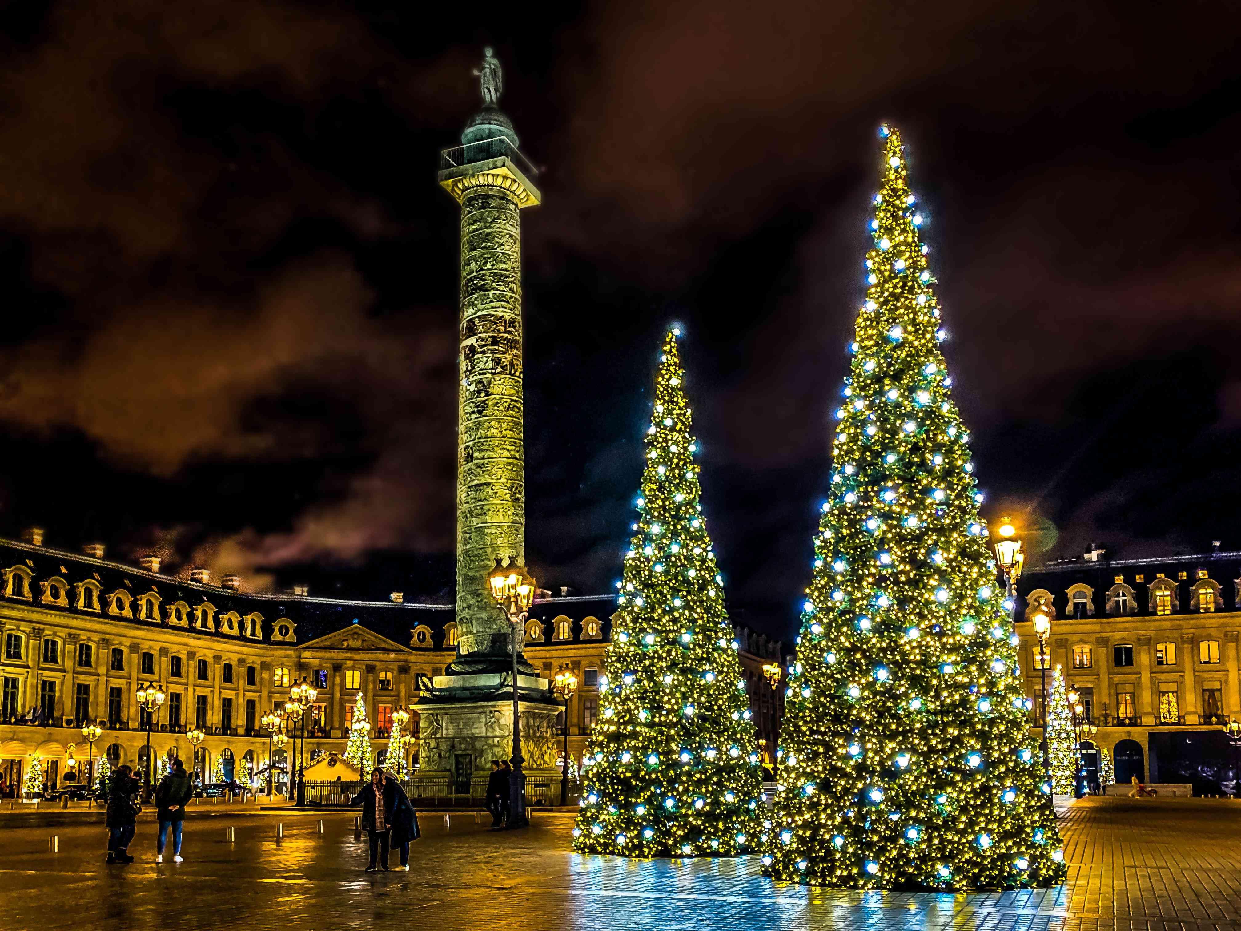Illuminated Christmas tree at Place Vendome