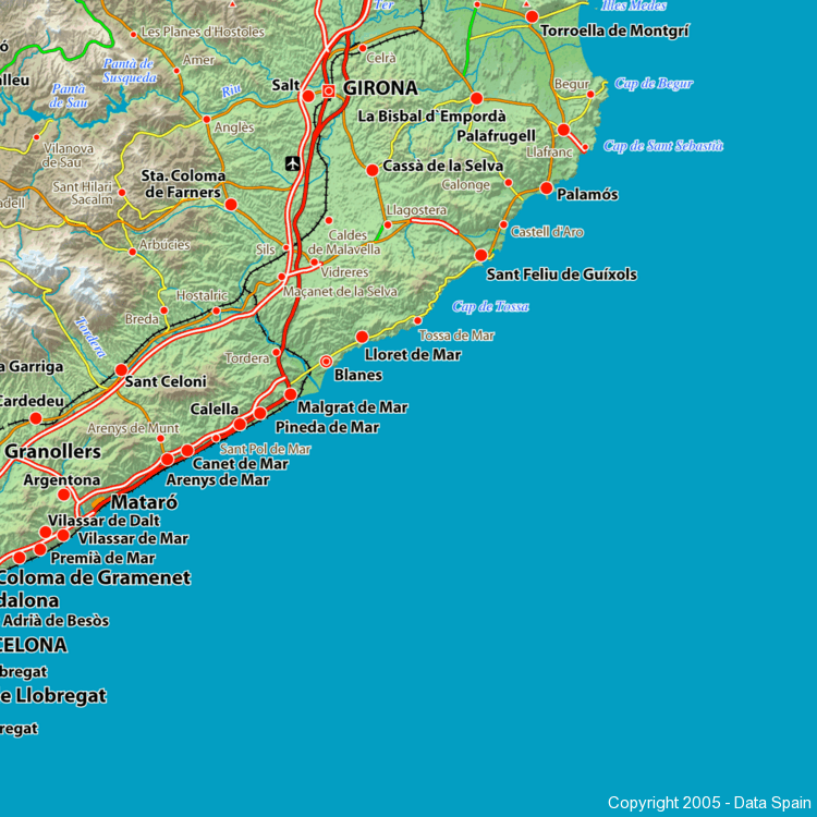 Map Of Spain Showing Costas.Large Map Of Spain S Cities And Regions