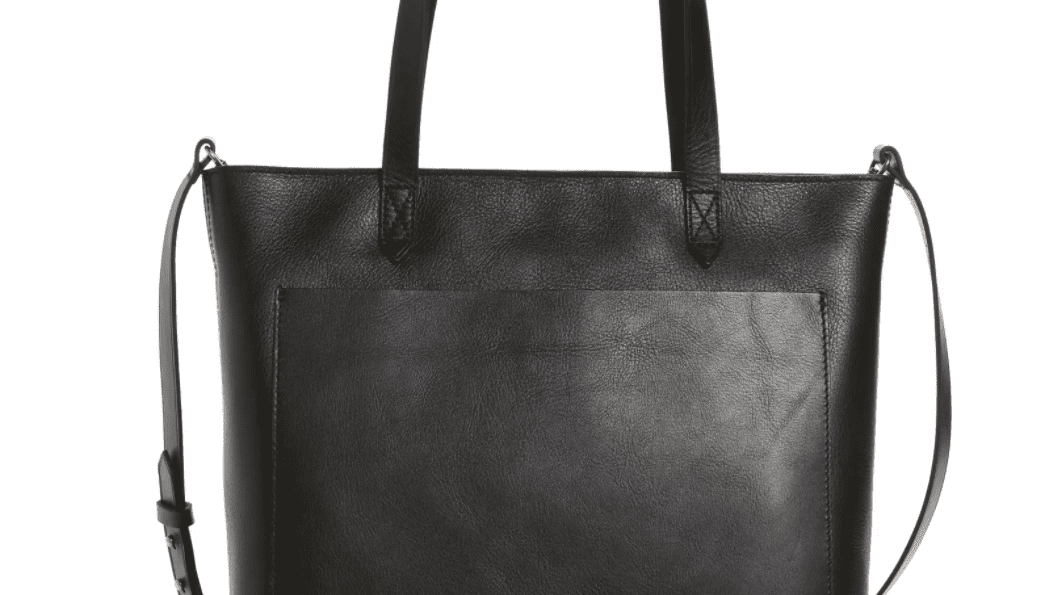 Large Black Leather bag with zip and removable Cross Body Strap Minimalist leather bag. Handmade Ready to ship Zipper