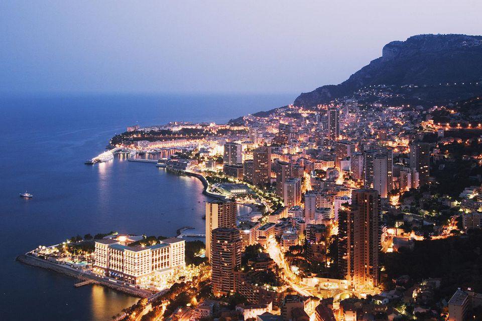 Monaco, Monte Carlo, night, elevated view