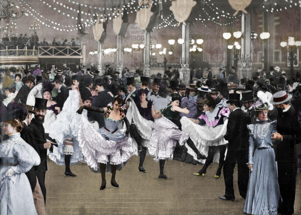 Le Bal Du Moulin-Rouge', 1900. From Le Panorama - Paris la Nuit No. 1, [Librairie D'Art - Ludovic Baschet editeur, Paris, 1900]. (Colorised black and white print).Artist Unknown. (Photo by The Print Collector/Getty Images)
