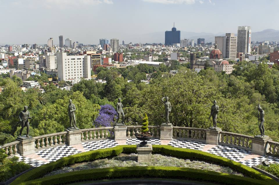 Mexico City skyline from Chapultepec Park