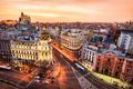 Aerial view and skyline of Madrid at dusk. Spain. Europe