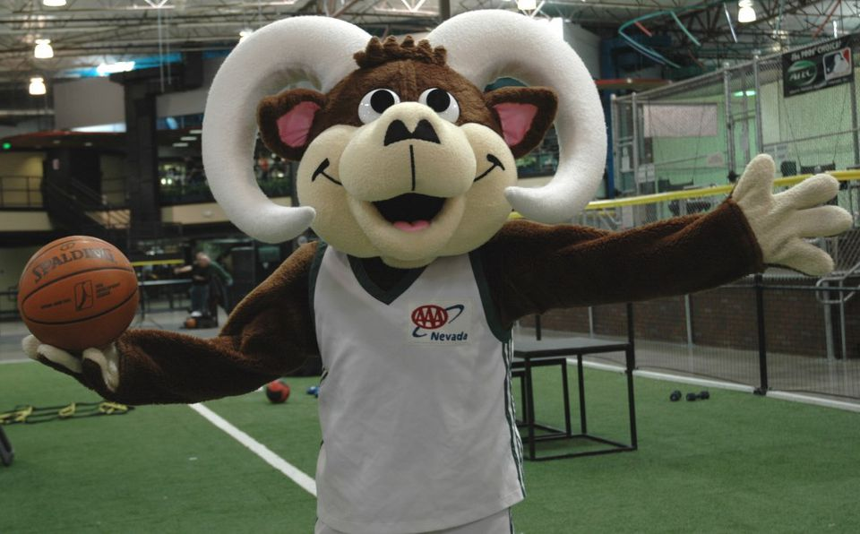 Bruno, mascot of the Reno Bighorns D-League basketball team.