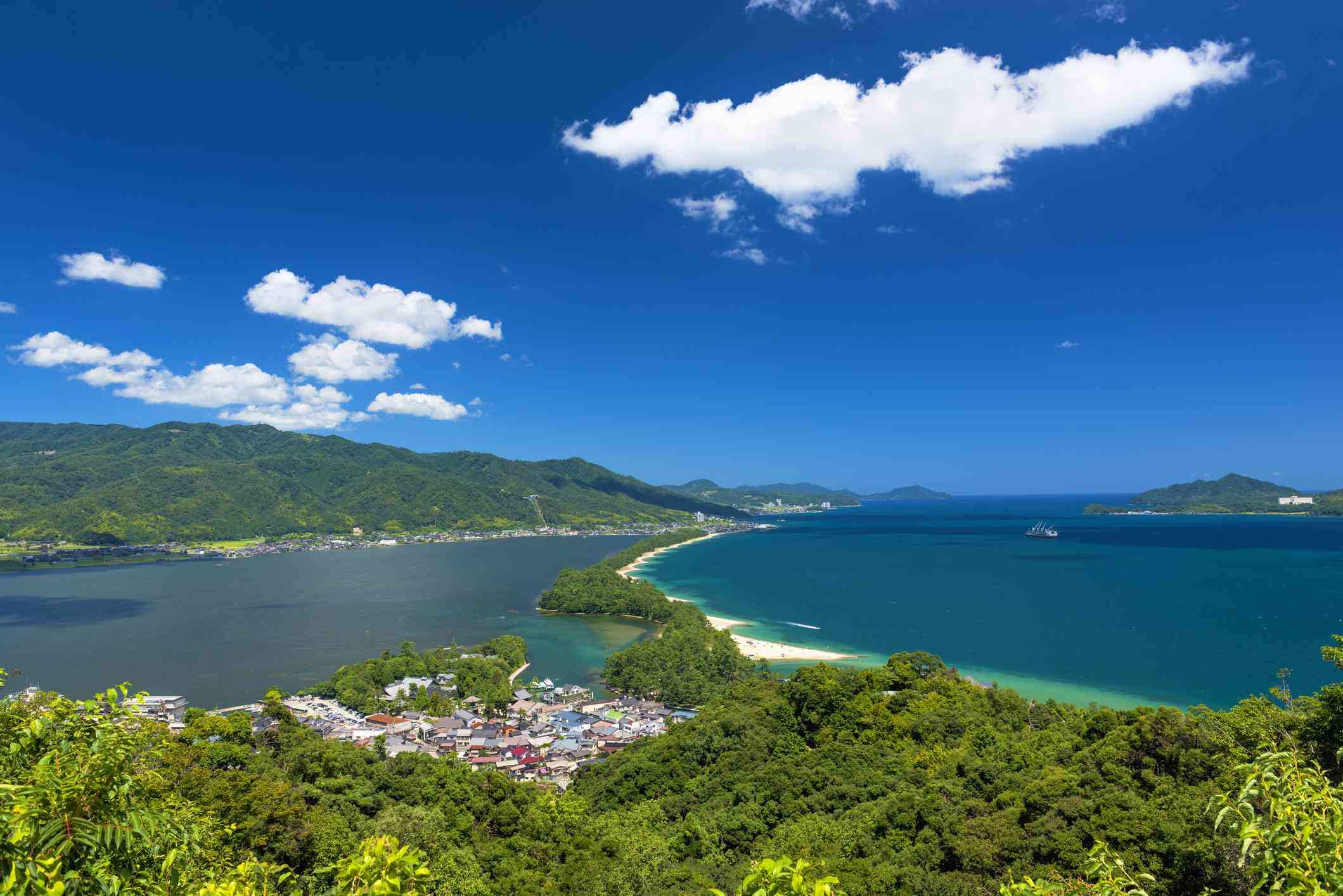 view of the Amanohashidate sandbar on a clear day
