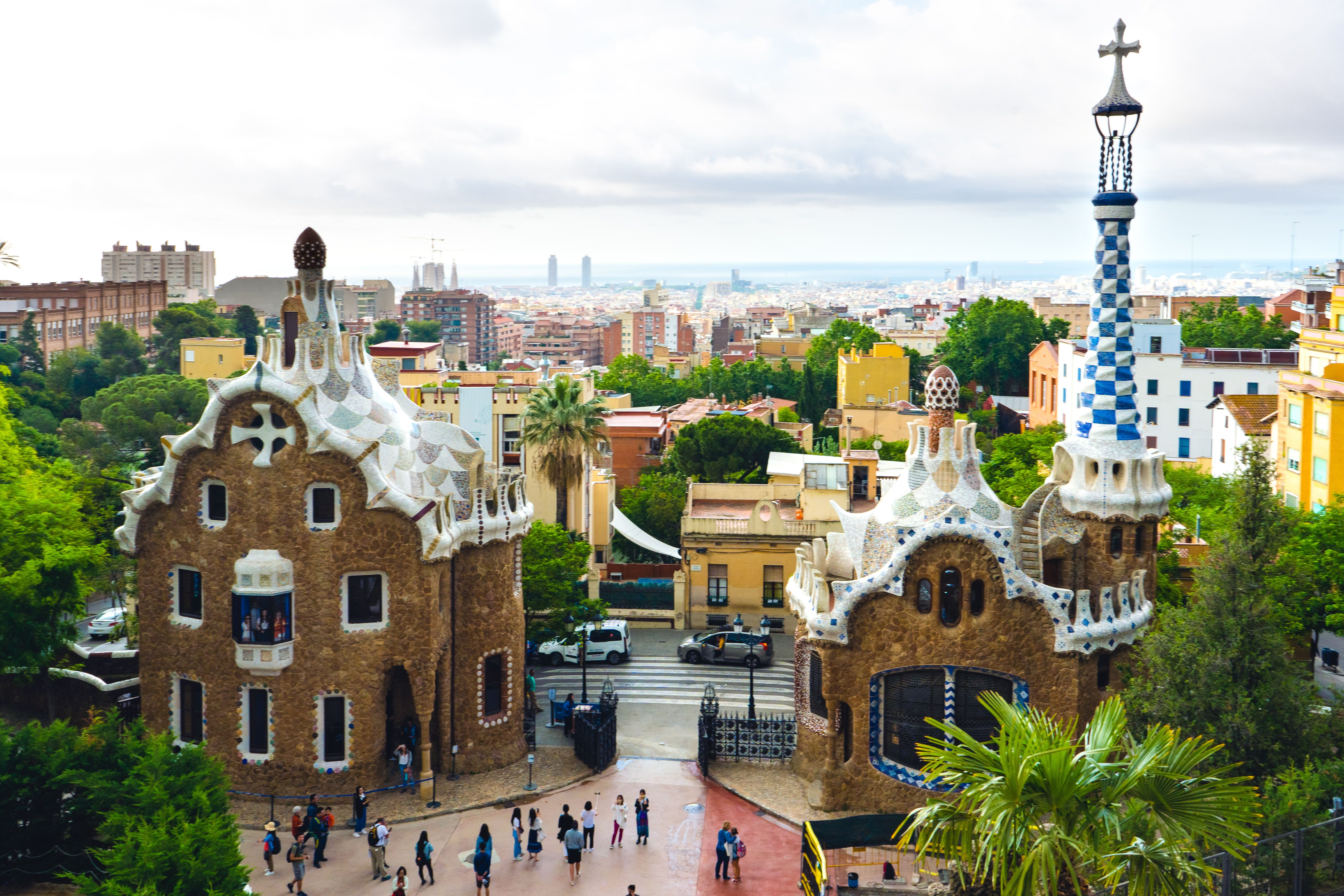 Overlooking the courtyard in Park Guell