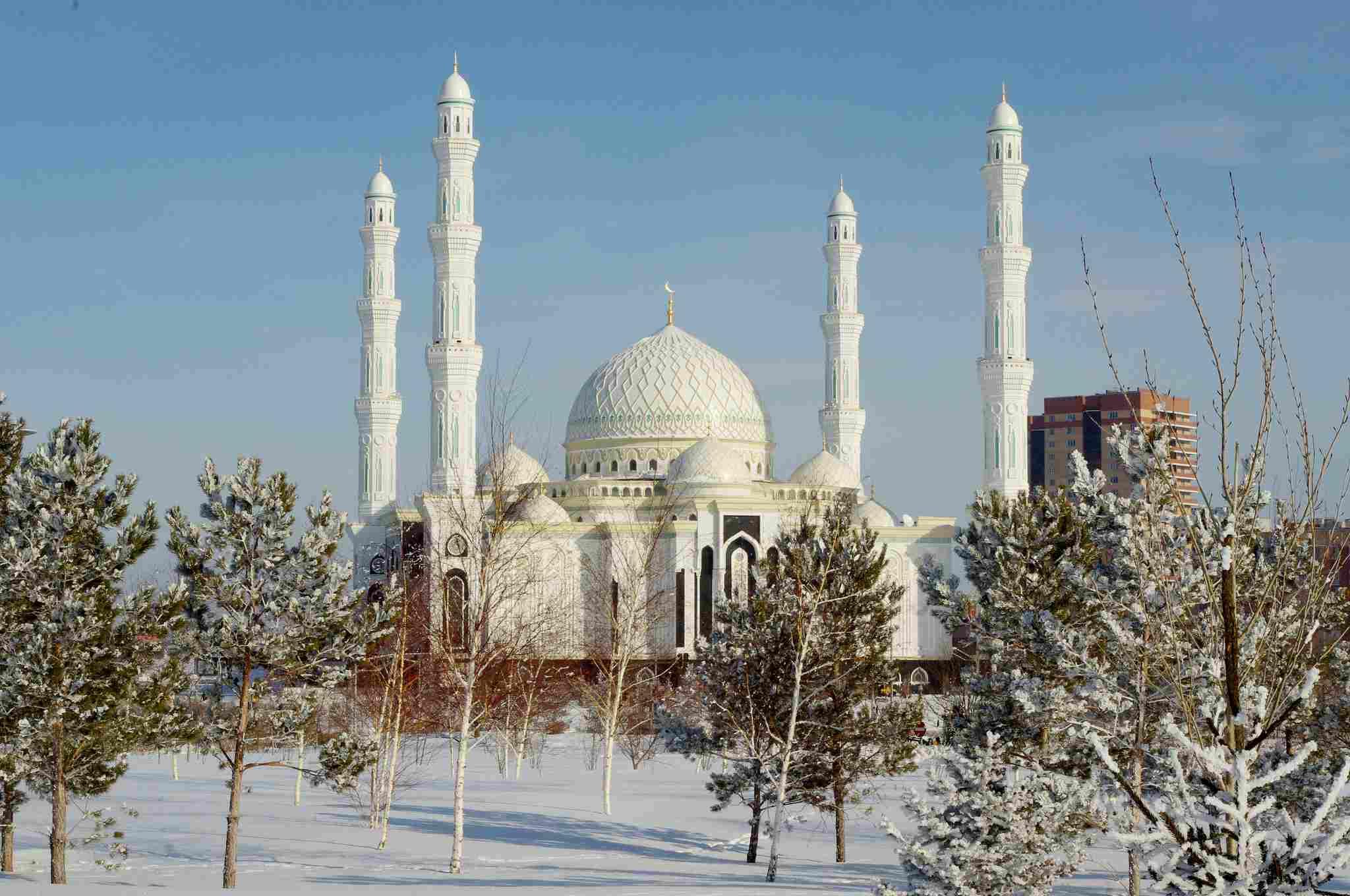 Haupt Astana, Kasachstan Moschee im Winter