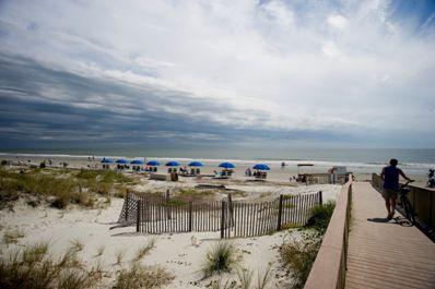 Blue Umbrellas on the Beach