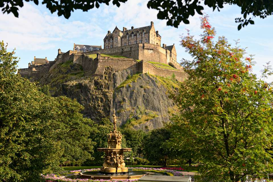 Edinburgh Castle, Scotland, from Princes Street Gardens, with Ross Fountain