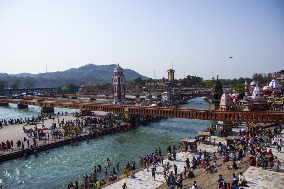Haridwar, Uttarakhand, India. Early Morning view of Har-Ki-Pauri Ghat at Haridwar.