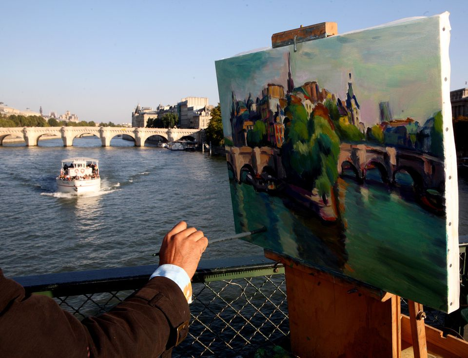 someone Painting the Pont Neuf over the Seine in Paris