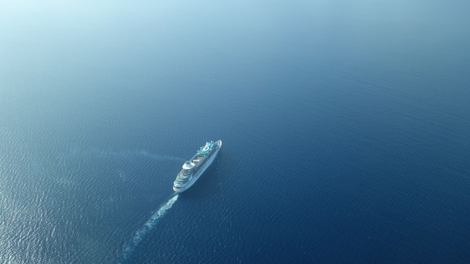 Aerial view of cruise ship in open sea