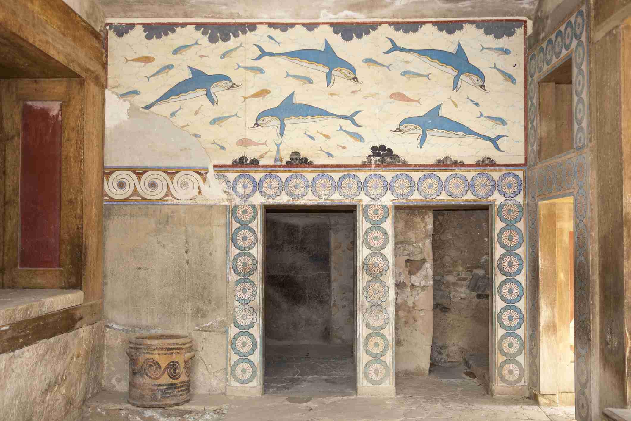 Fresco de delfines en el Megarón de la Reina, Knossos Palacio, Knossos, Creta, Grecia