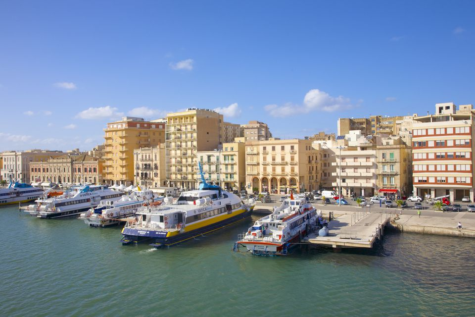 Harbor with boats & ferries near historic Trapani, Sicily