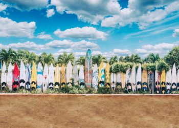 Old surfboards lined up as a fence in Hippie Town. Paia, Maui, Hawaii
