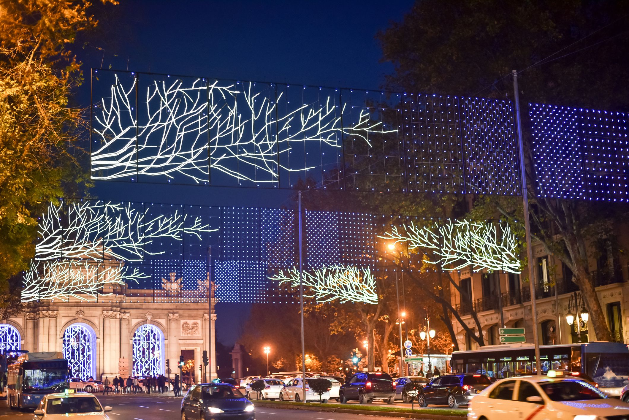 Christmas decorations in Madrid by night