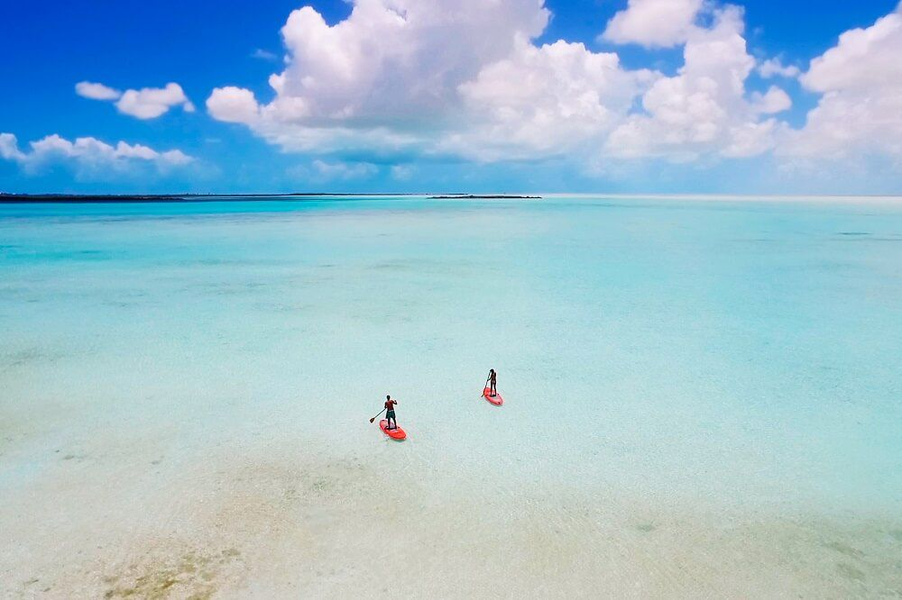 Stand-up paddleboarding off the coast of Sailrock Resort in South Caicos